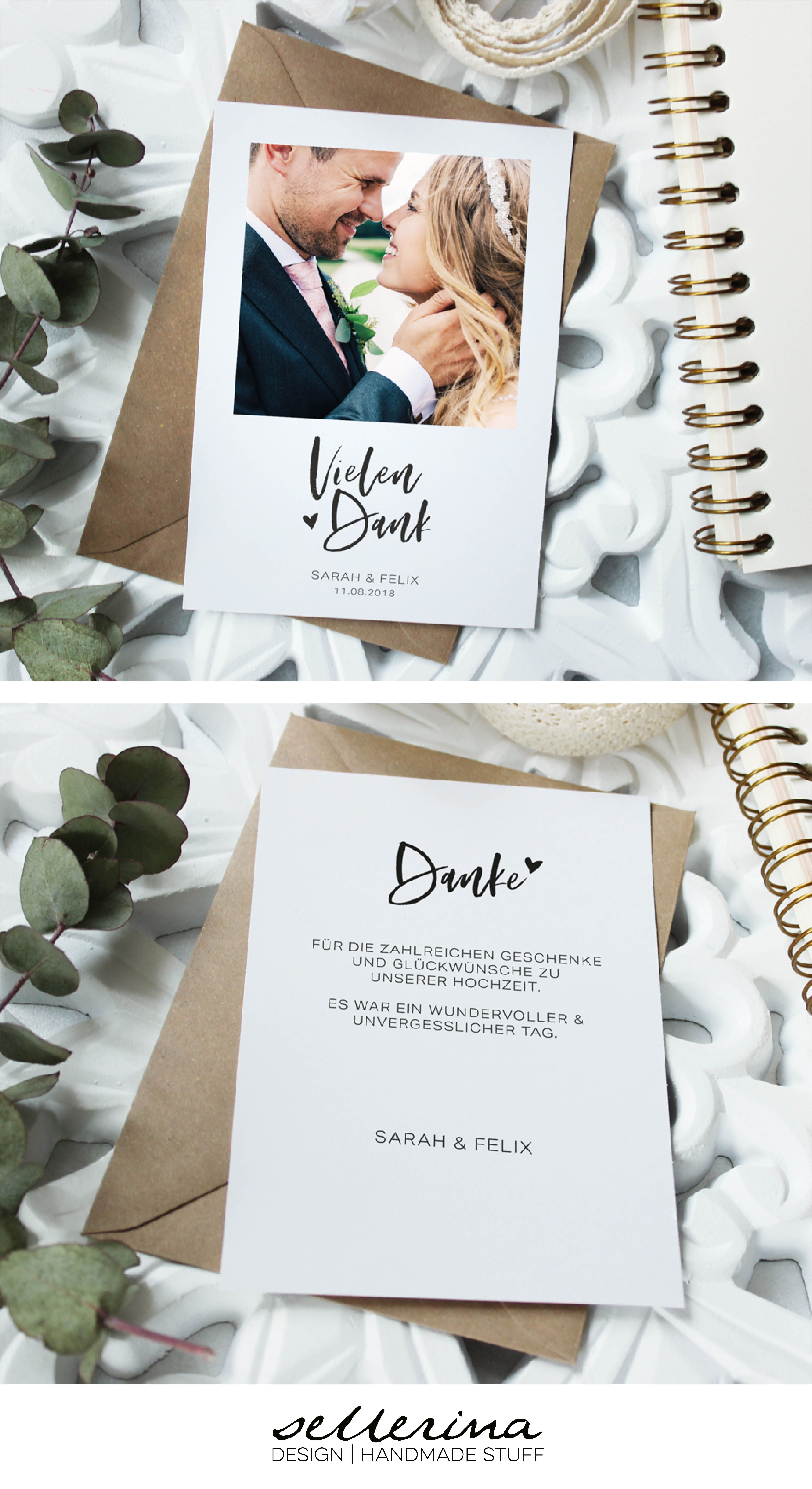 Danksagungskarte in schlichtem Design | individuelle Hochzeitspapeterie von sellerina  Das Fest ist vorbei und man möchte DANKE sagen. Die Postkarte wird individuell mit Namen, Bild & Text zu eurer persönlichen Dankeskarte. #personalizedwedding