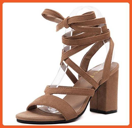 efce009ca7cd8 Women's Bandage Gladiator Mid Rough Heels Wedges Sandals (5.5, Light ...