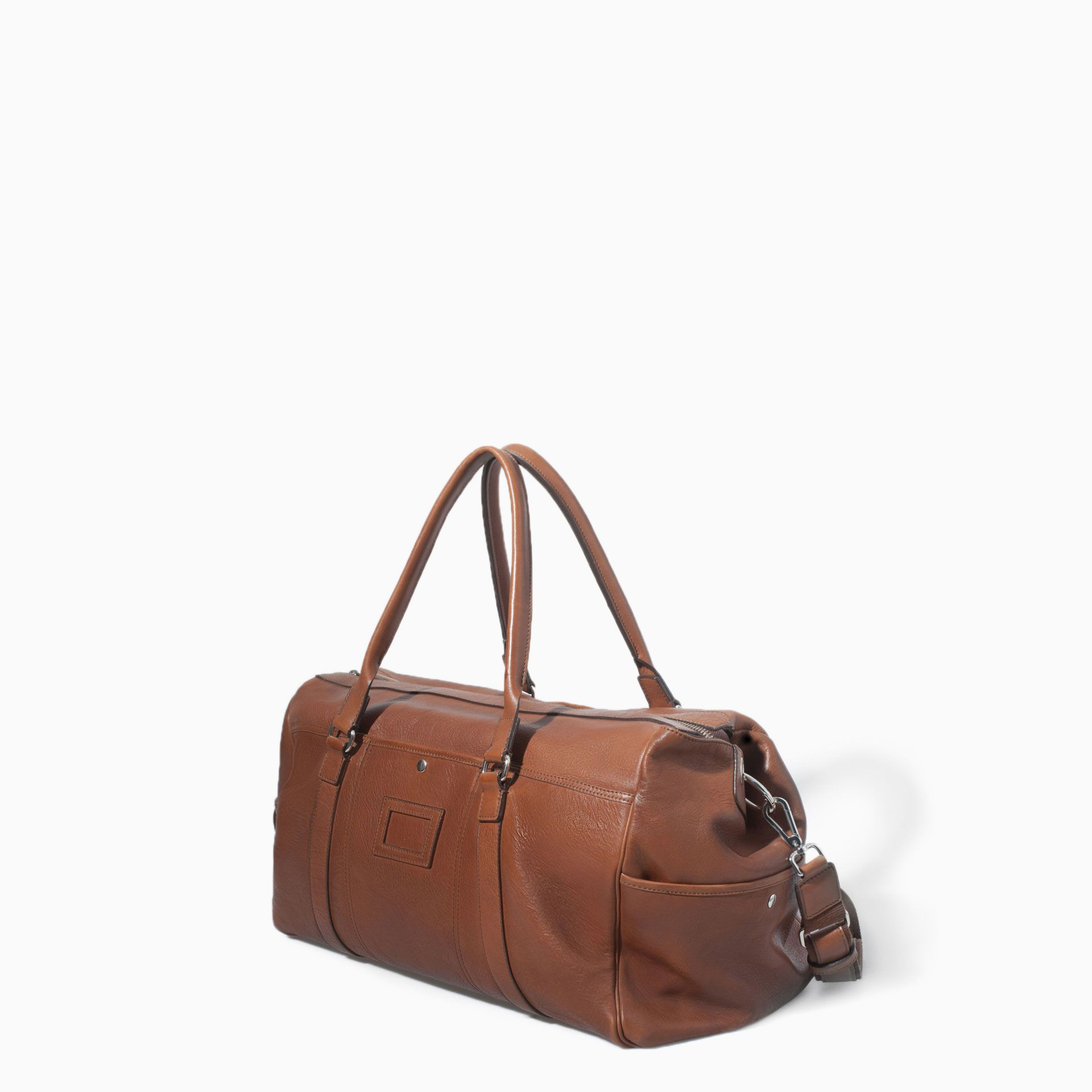 ZARA MAN LEATHER WEEKEND BAG | Leather weekender bag