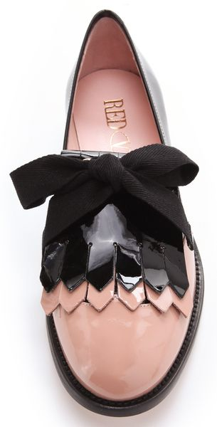 44c809277da9 Red Valentino Bow Tie Loafers in Pink (black) - Lyst