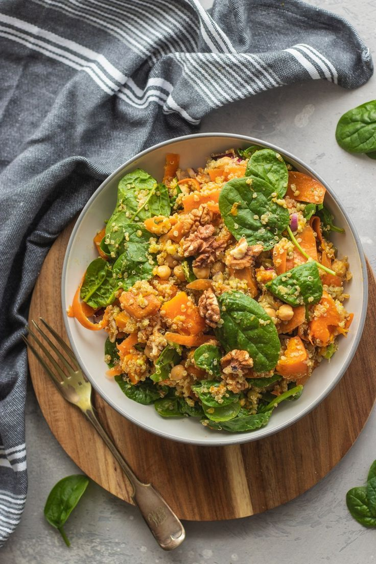Chickpea Quinoa Salad With Pumpkin You can  t go wrong with an autumnal chickpea quinoa salad that  s filling and high in protein  Add oven-roasted pumpkin for an extra seasonal touch  Vegan gluten-free and oil-free  wfpb veganrecipes pumpkinrecipes quinoa vegansalad