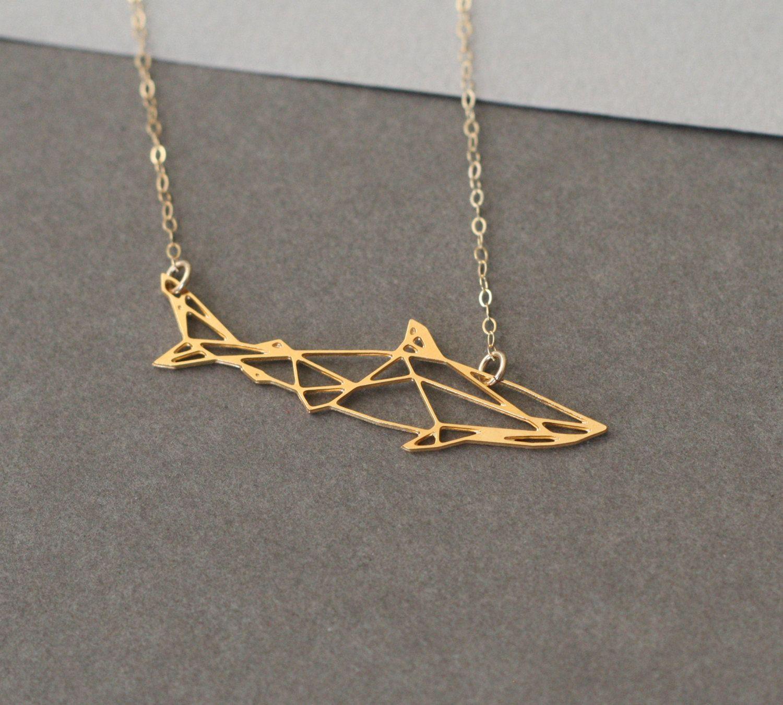 fbd16f625c6ba Shark necklace geometric jewelry geometric necklace geometric shark ...
