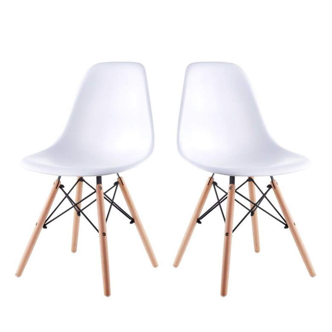 Artwell Eames Chairs Set Of 2 Mid Century Modern White Dining Chair Side Chair Plastic Armless Chair With White Dining Chairs Dining Chairs Living Dining Room