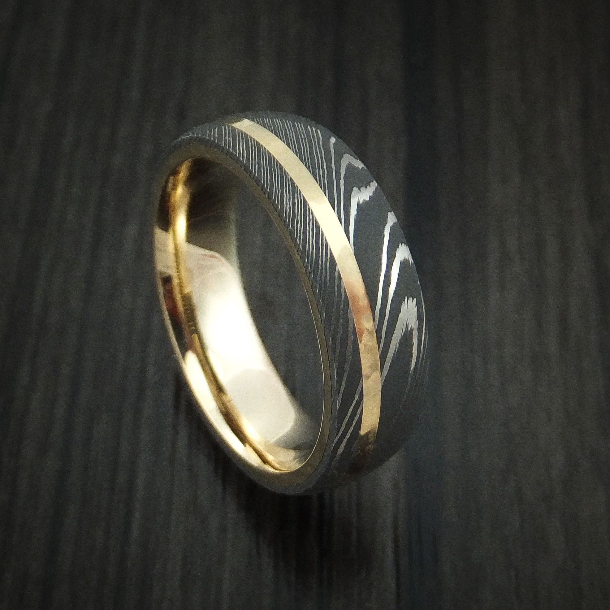 pin made custom damascus yellow rings wedding steel ring band gold blacksmith