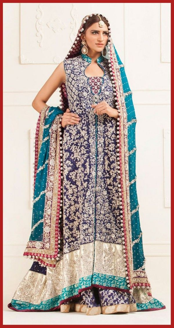 latest pakistani indian wedding day sharara designs