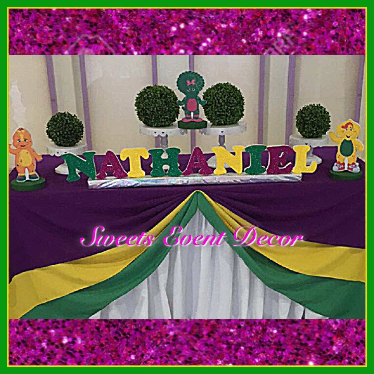 barney theme decoration by: sweets event decor | backdrop