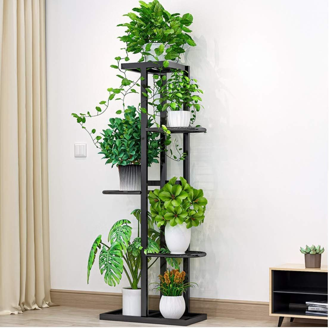 Black metal 4 tier 56 potted plant stand multiple flower