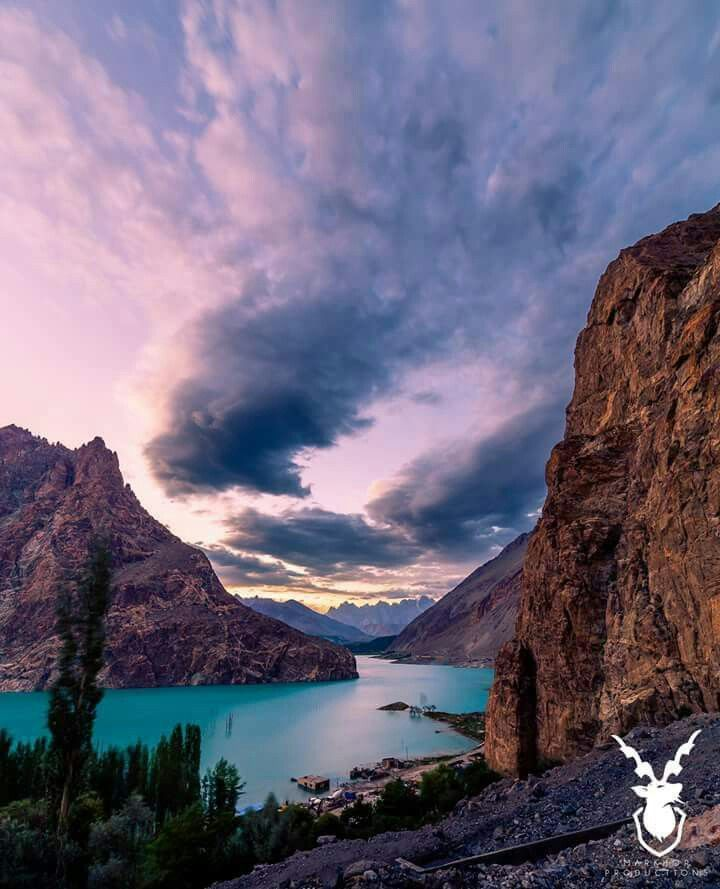Sunset at Attabad Lake, Hunza. Attabad, GB, Pakistan. Mark Hor Productions