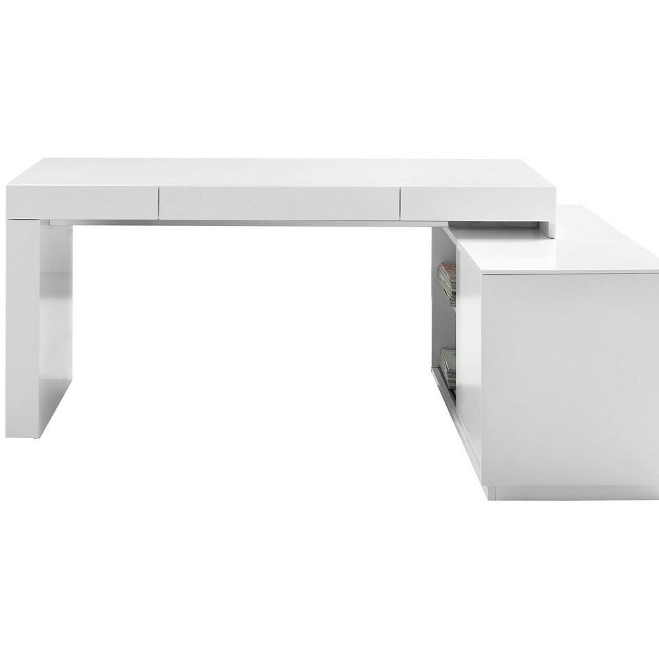 L Shaped Office Desk Jnm S005 Modern Office Desk In White View Distressed White Office Furnit White Gloss Office Desk Modern White Desk Office Furniture Modern