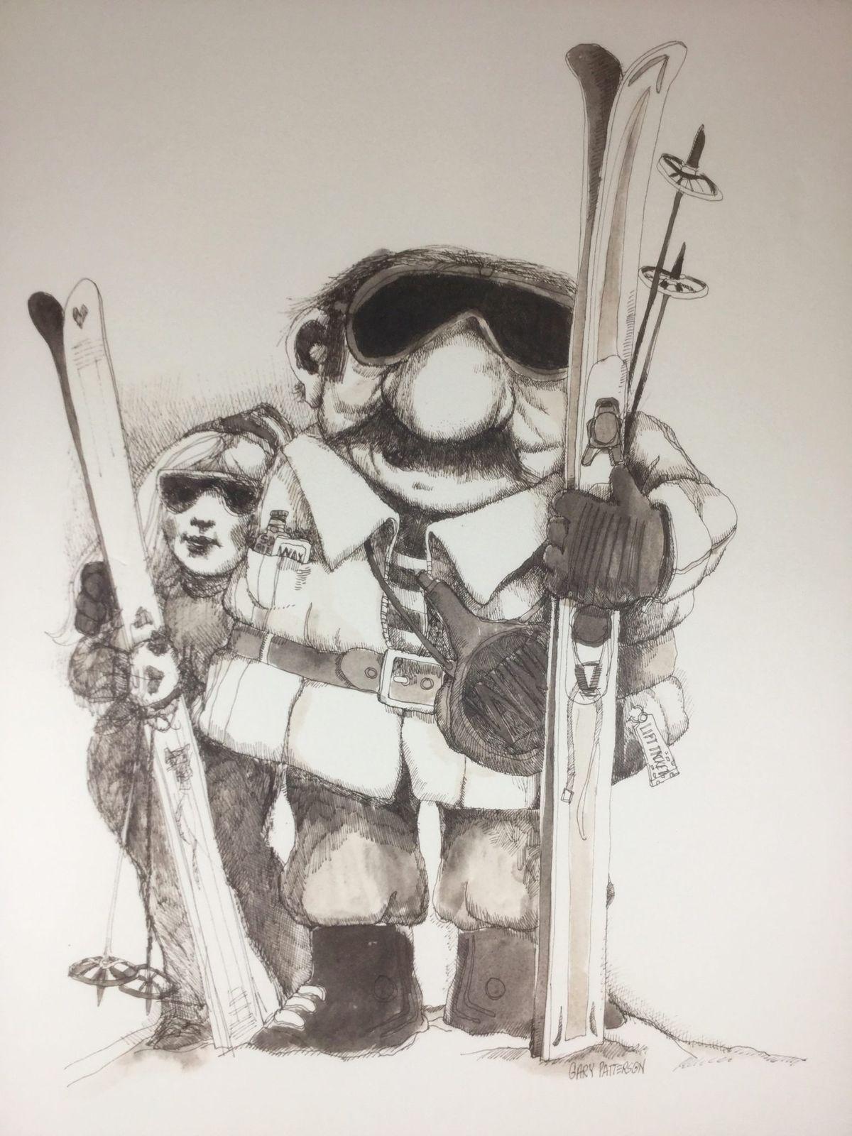 Vtg 1970s Ski Art Poster Snow People Gary Patterson Retro