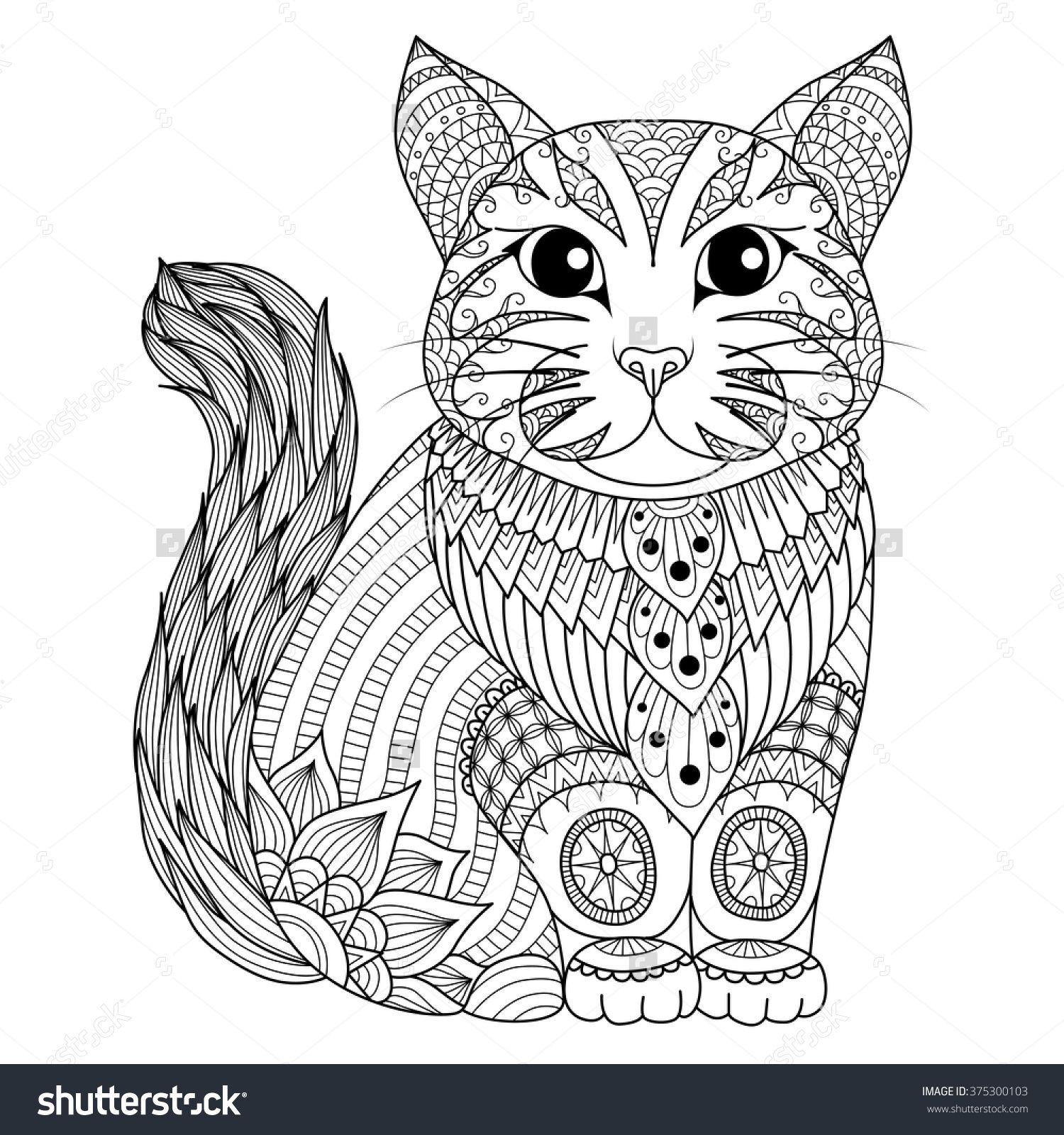 zentangle cat | Doodling | Pinterest | Cat, Adult coloring and Mandala