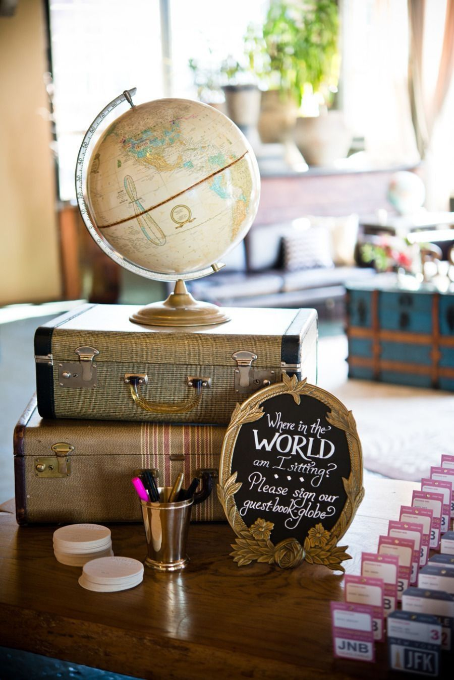 Wedding Guest Book Globe Possible Sign Also Tying In The