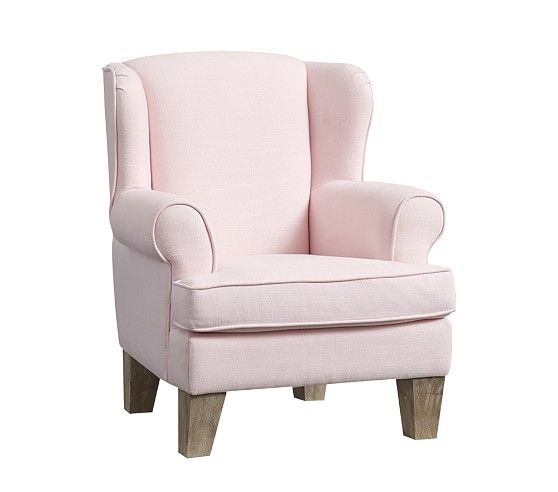 Charmant Wingback Mini Chair, Linen Blend Pale Pink | Pottery Barn Kids