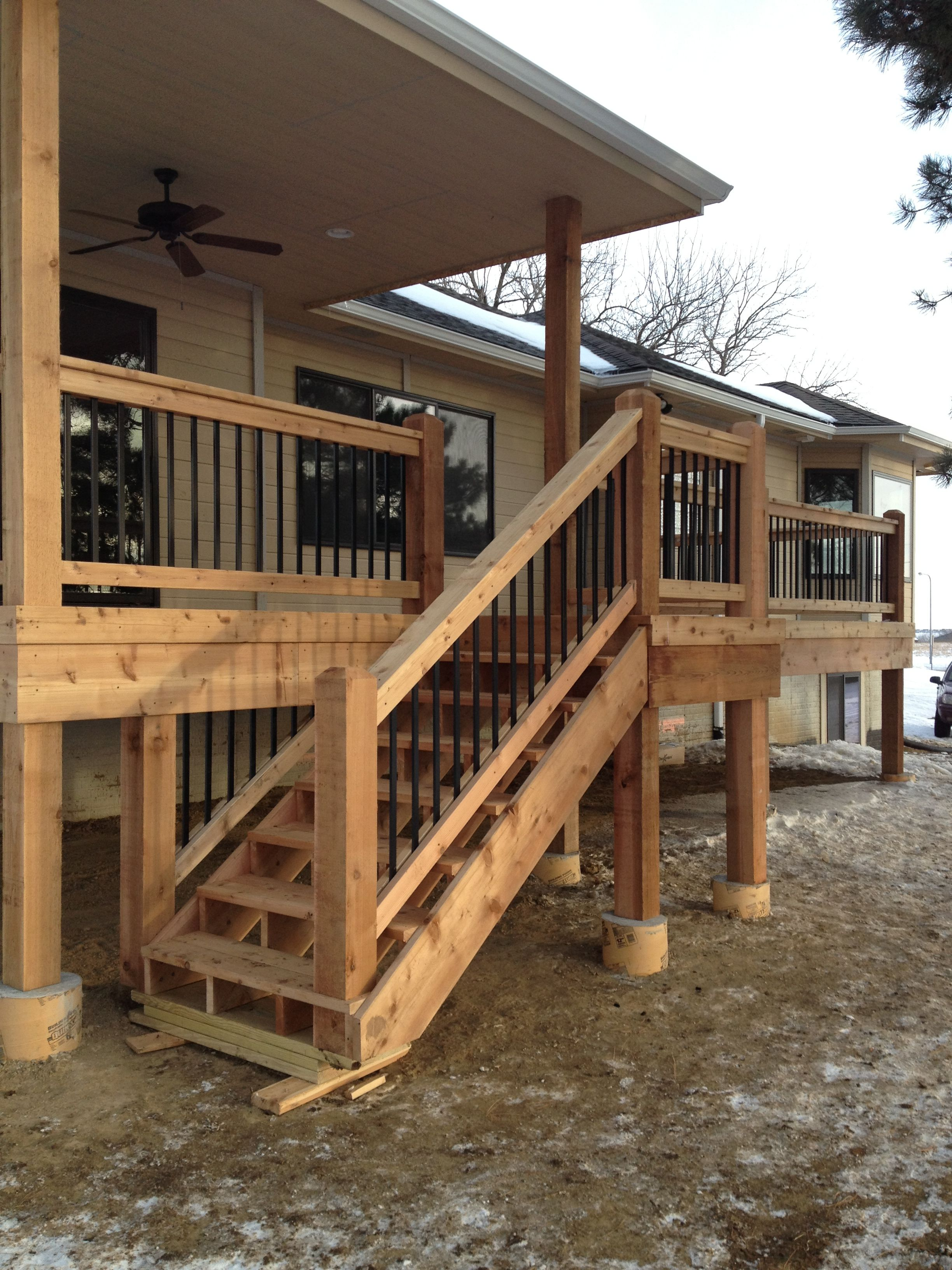 Best Copperfields Cedar Deck Stairs Nrt Contracting Omaha 400 x 300