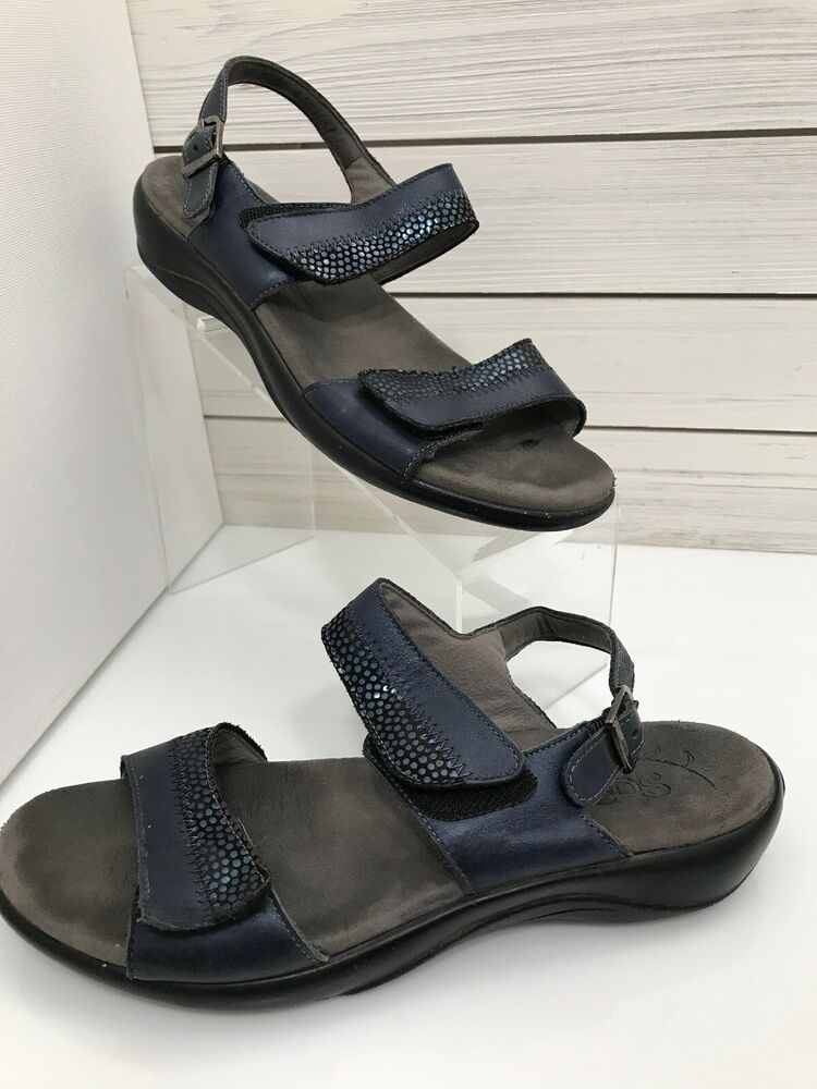 bb6203e89122 SAS Size 8 N Narrow Sandals Shoes Ankle and Toe Strap Blue with Sheen  SAS