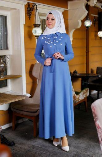Sefamerve Sefamerve Cicekli Elbise 2066 04 Mavi Maksi Elbiseler Elbise The Dress