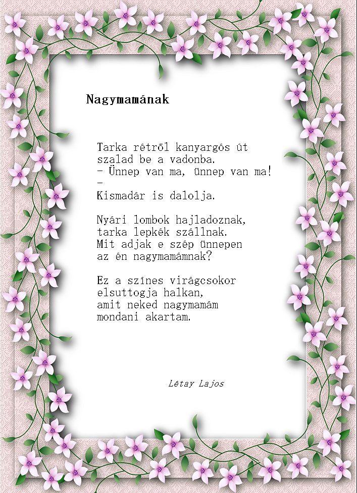 idézetek anyák napjára nagymamáknak Pin by Bubó Kaa on Versek, mesék gyerekeknek | Mom day, Mother and