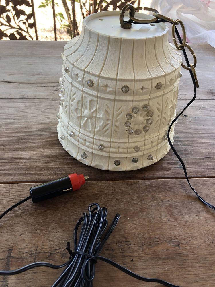 Lawnware Flower Pot 237 12 Volt Battery Light Lamp Beaded Retro Van Camper Battery Lights Vintage Flower Pots Camper Lights