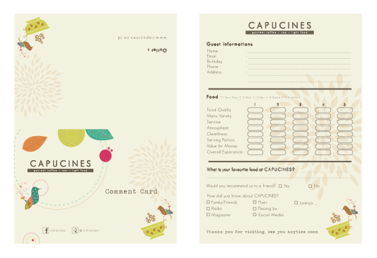 Cafe Concept Named Capucines Comment Card Concept Volksfaden Cafe Concept Portfolio Design Cards