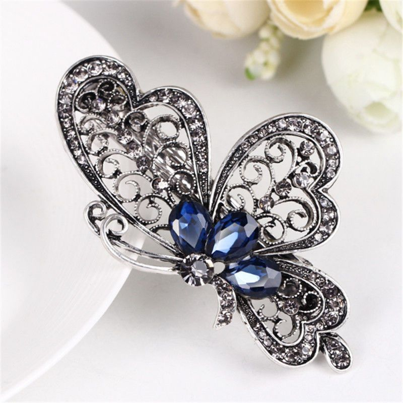 Details about Vintage Womens Blue Crystals Butterfly Hair