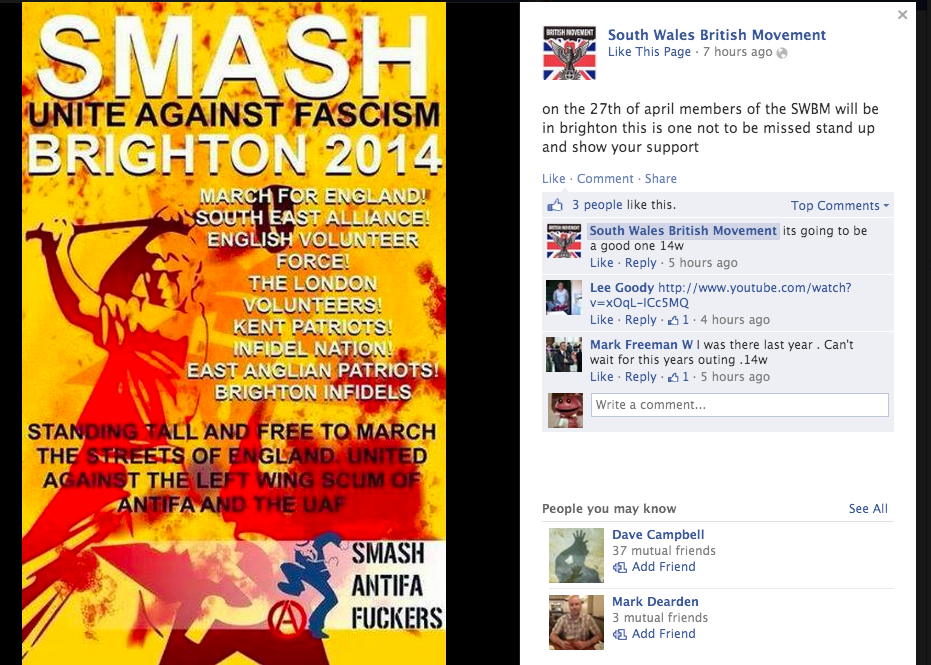 Can anyone see anything about St George's Day in this. Can you? #EDL #Brighton