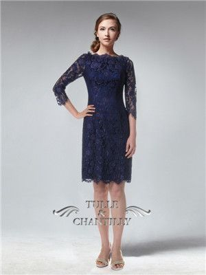 a63c18a9a8c Long Sleeves Knee length Fitted Full Navy Blue Lace Bridesmaid Dress  custom   tullechantilly