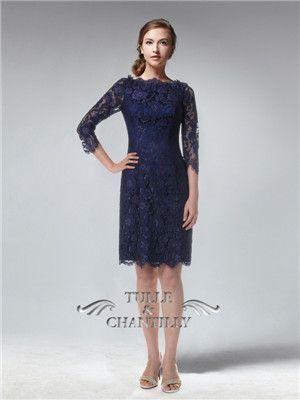 b7de857b79d4 Long Sleeves Knee length Fitted Full Navy Blue Lace Bridesmaid Dress   custom  tullechantilly