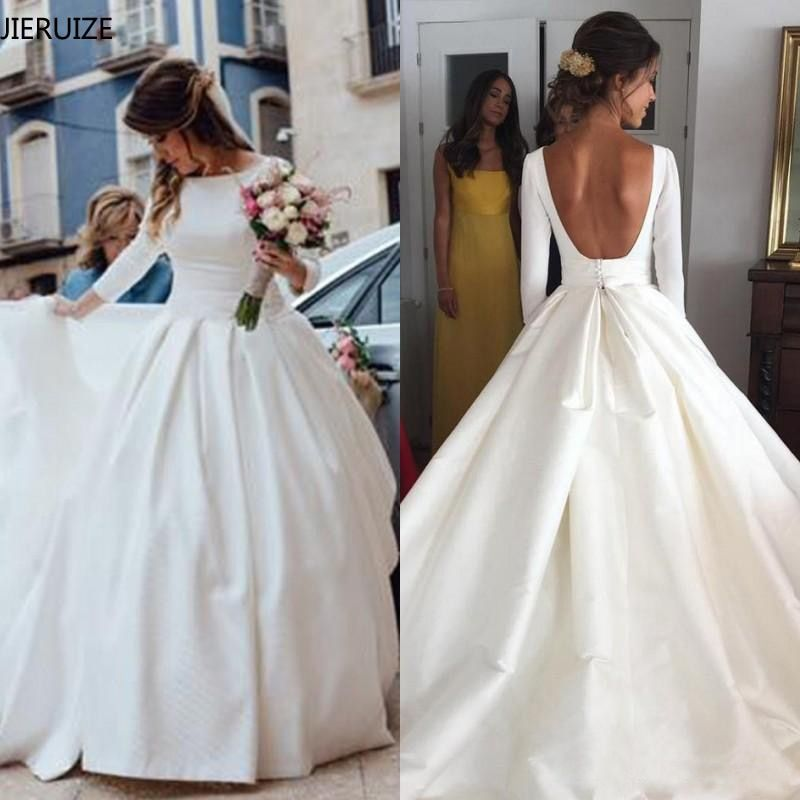 Smarter Shopping Better Living Aliexpress Com Long Sleeve Wedding Dress Backless Wedding Dresses Satin Wedding Dress Long Sleeve