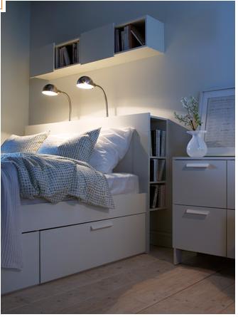 Brimnes Bed Frame With Storage Headboard White Luroy Queen Ikea In 2020 Bed Frame With Storage Brimnes Bed Headboard Storage