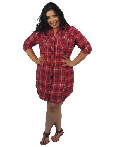 4a5f387a6b4 599fashion Women s Derek Heart Plus Size Plaid Flannel 3 4 Sleeve Dress