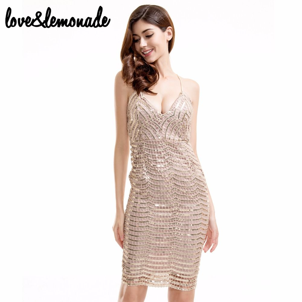 Aliexpress.com : Buy Love&Lemonade V Neck Slim Golden Sequined ...