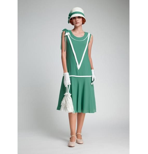 1920s Dress In Sea Green And Off White Great Gatsby