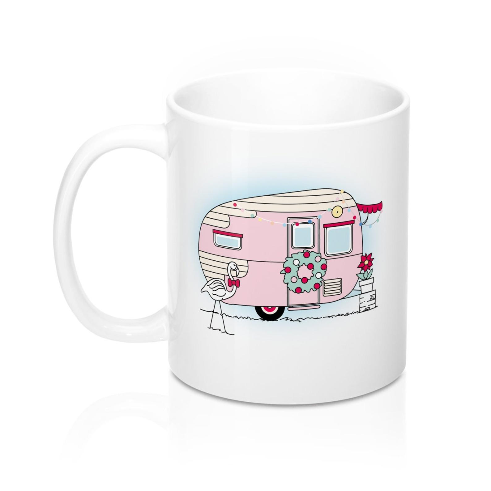 Christmas Camper Mug Pink Mug Christmas Mug Vintage Caravan Vintage Rv Vintage Camper Glamping Mug Christmas Mugs Vintage Camper Mugs