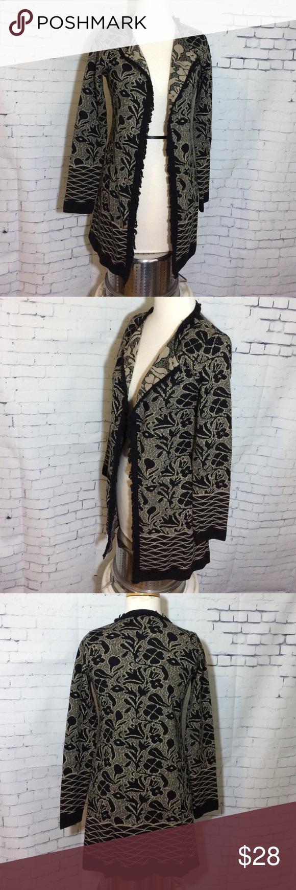 Gottardi Collection Black Beige Cardigan L | Merino wool, Wool ...