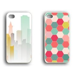 Two free templates to prettify your iPhone - a pastel city scape and a vibrant honeycomb pattern.