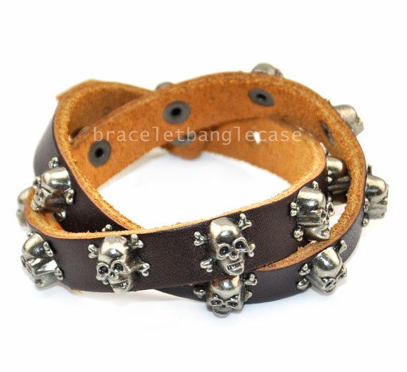 Skull leather cuff bracelet with brown by braceletbanglecase, $9.00