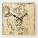 Vintage Map of North America Square Wall Clock#vintage #maps #travel #charts #gifts