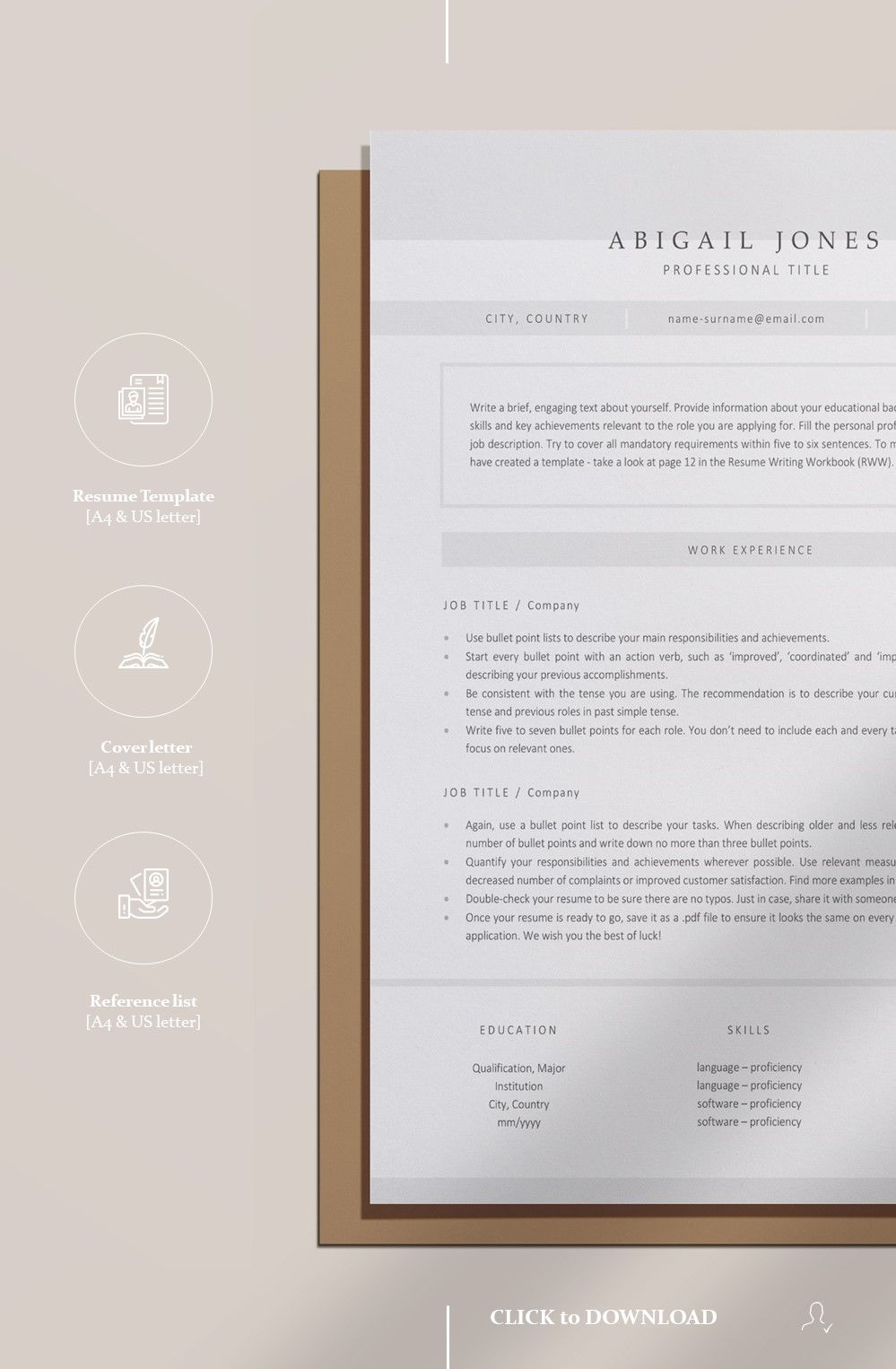 Resume Template Instant Download, Minimalist CV Template