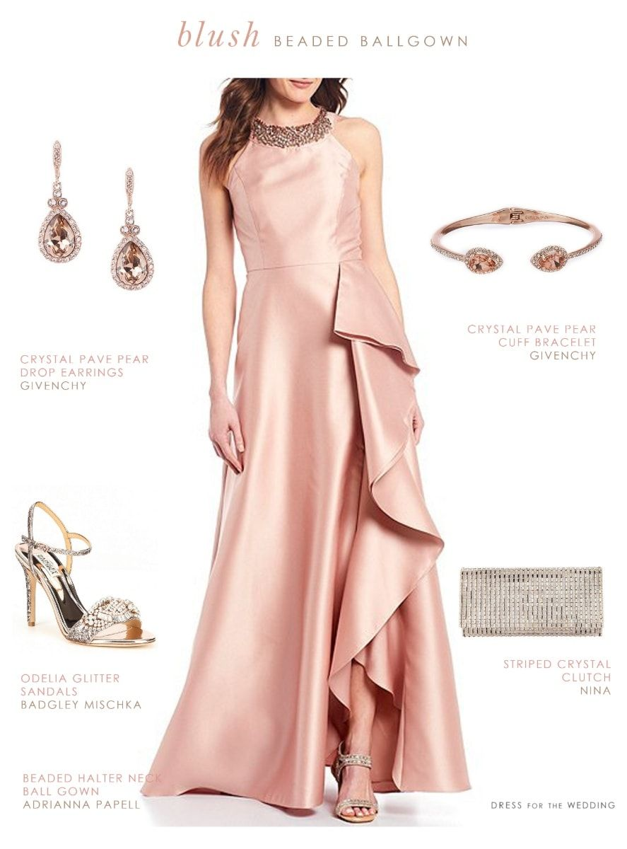 Blush Pink Gown With Beaded Neckline Dress For The Wedding Gorgeous Bridesmaid Dresses Pink Gowns Beaded Neckline Dress [ 1200 x 887 Pixel ]