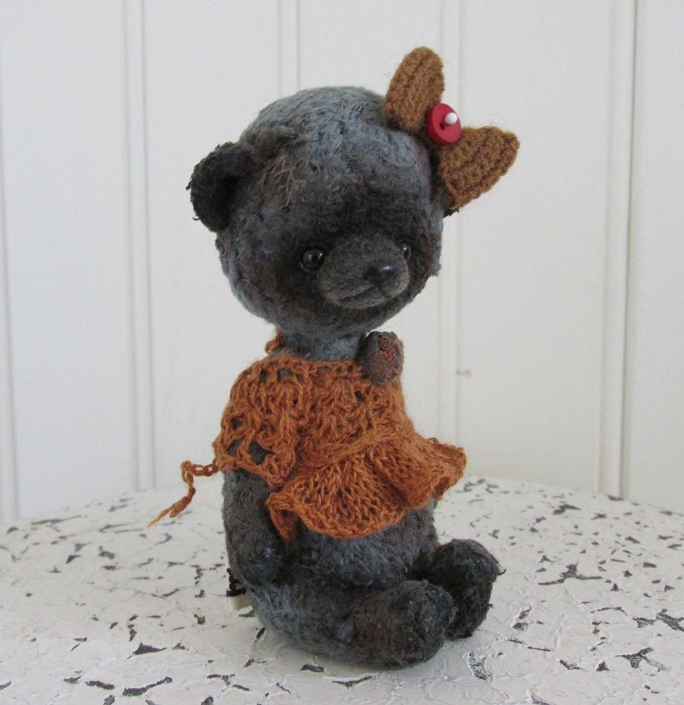 OOAK Artist Bear Thread Crochet Vintage Antique Style by Olga Schlegel 4.5 inch