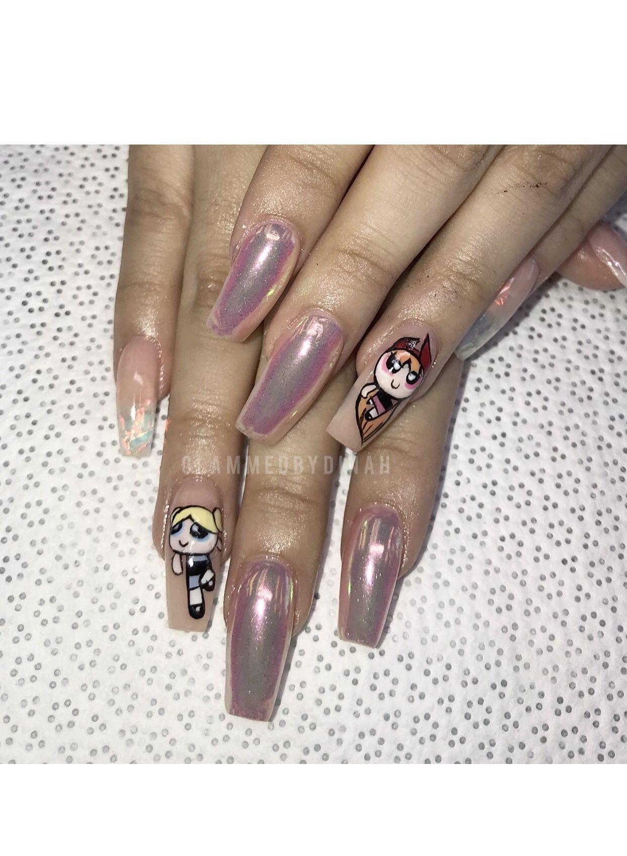 Powerpuff girls How to do nails, Nails, Powerpuff girls