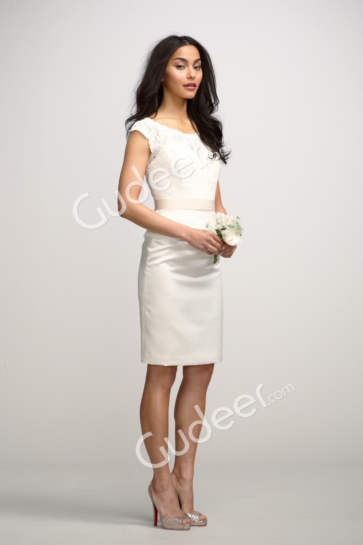 Boat neck cap sleeves ivory lace short sheath bridesmaid dress