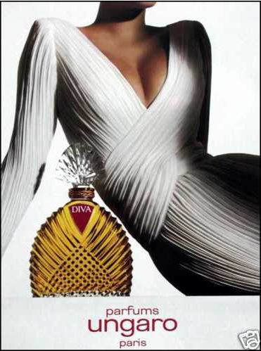 "Love the dress in this 1985 Ungaro perfume ad.""Dallas anyone? I can just see Joan Crawford in this.""-LL"