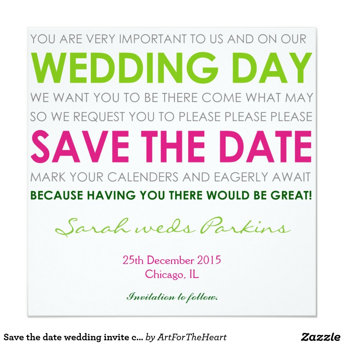 Save the date wedding invite card green poem   Wedding of the Dee\'s ...