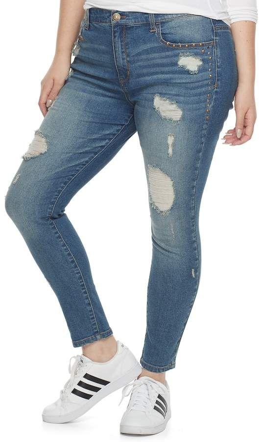 4c317bdd7b68b Plus Size Juniors' Studded Ripped Skinny Jeans #details#essential#studded