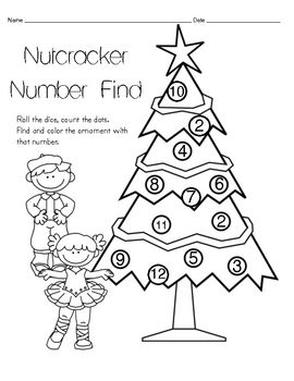 Nutcracker Number Find Math Coloring Page Christmas Language