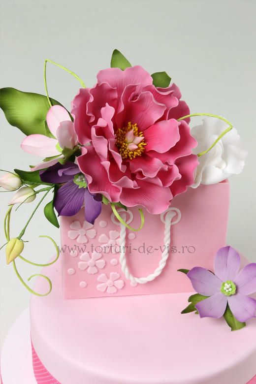 Marvelous Shopping Bag And Flowers Cake Birthday Cake With Flowers Floral Funny Birthday Cards Online Alyptdamsfinfo