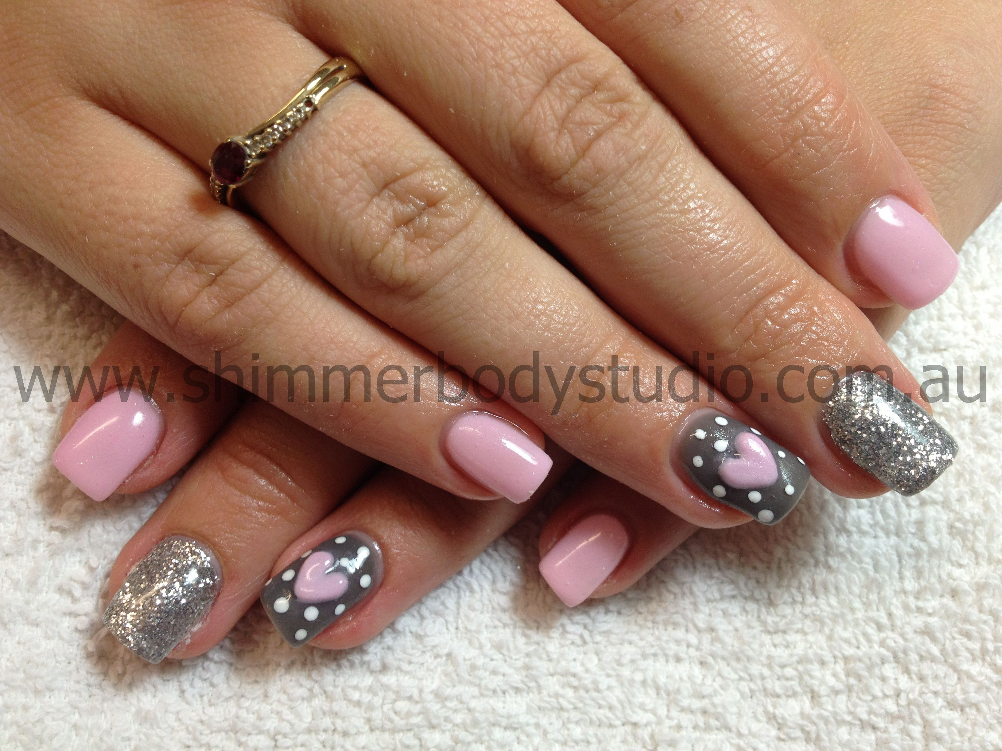 Gel nails, pink and grey nails, silver glitter, 3d acrylic hearts ...