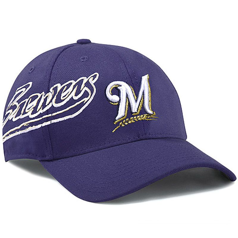 Milwaukee Brewers New Era Flashmark 39THIRTY Flex Hat - Navy