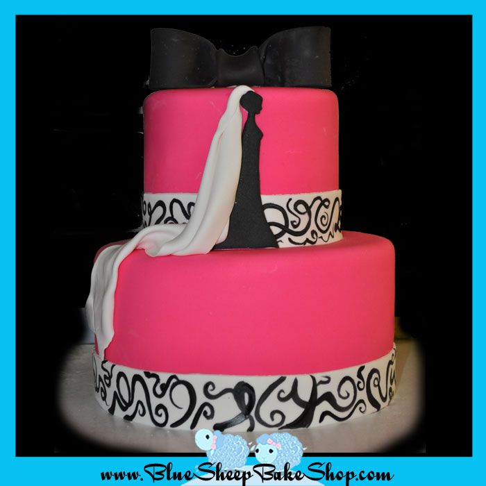 SO cool... cake for bridal shower. Not really loving the BRIGHT pink, maybe a light yellow or somethin' more neutral.